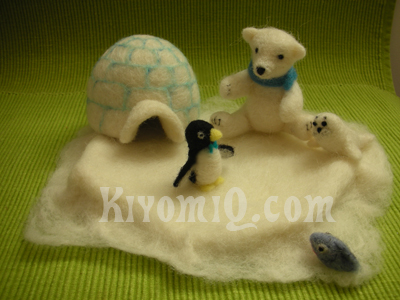 Polar bear, igloo, penguin