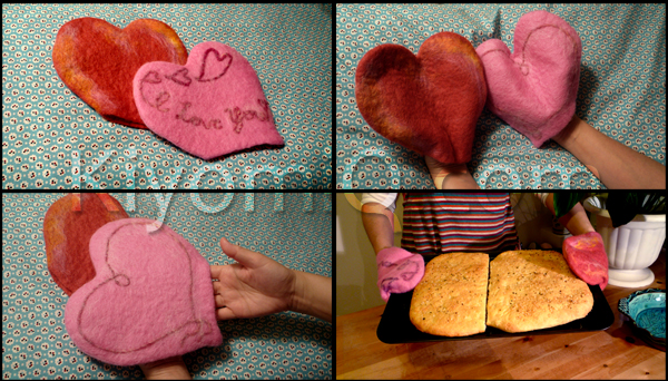 Oven mitts, wet felted