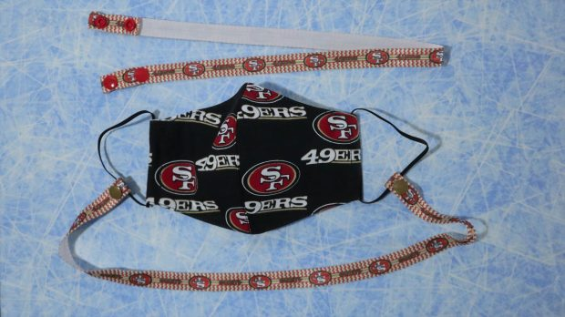 49ers mask and lanyard. A great gift for San Fran's fans. Contact Kiyomi@KiyomiQ.com for availability of other sports teams.