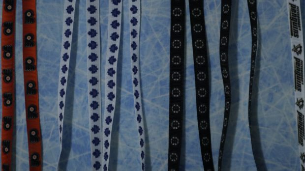 An even closer look at the hockey themed lanyards.