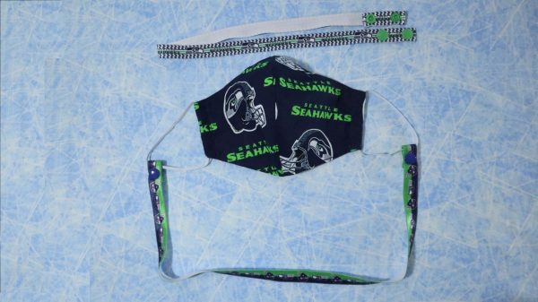 Seahawks mask with team lanyard. Could this be the year that Russell Wilson gets his second Super Bowl ring?